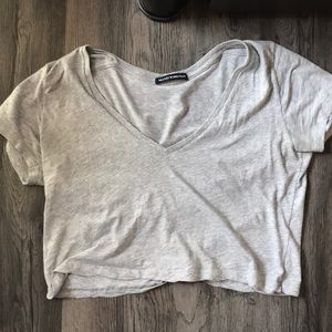 Brandy Melville Grey Ashley cropped T